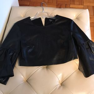 Nasty Gal crop faux leather top